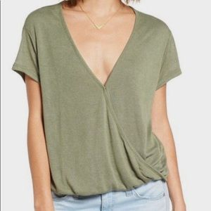 WE THE FREE Hoffman Wrap Blouse Green Medium